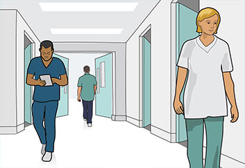 nurses walking in hospital corridor illustration