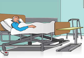 patient in hostpital bed illustration